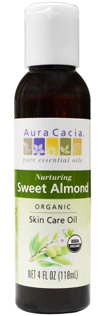 Aura Cacia Sweet Almond Organic Skin Care Oil, 4 oz. bottle
