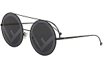 Fendi FF0285/S 807 Black FF0285/S Round Sunglasses Lens Category 3 Lens Mirrore